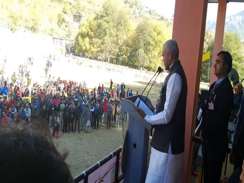 Governor Acharya Devvrat speaking on the concluding ceremony of the T-20 cricket competition organized a Rohru in Shimla district on 6 November 2018